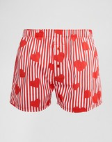 Asos Woven Boxers With Heart Print