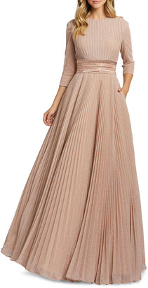 Mac Duggal Metallic 3/4-Sleeve Sparkled Pleated A-Line Gown