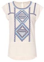 Veronica Beard Baha Embroidery Cap Sleeve Blouse