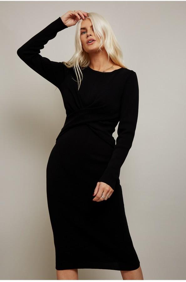 Little Mistress Ethos Black Ribbed Cross-Front Bodycon Dress