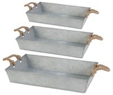 A&B Home Set of 3 Tin Trays With Rope Handles - Silver