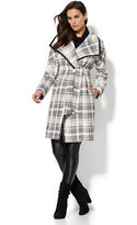 New York & Co. Faux-Leather Trim Wrap Coat - Herringbone