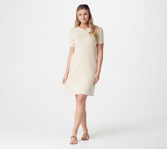 Denim & Co. Petite French Terry Short-Sleeve Dress