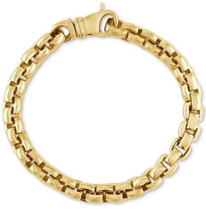 Esquire Men's Jewelry Curved Link Bracelet in Gold Ion-Plated Stainless Steel, Created for Macy's