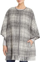 Basler Brushed Plaid Fringe Cape