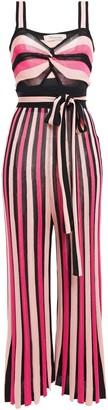 Temperley London Cutout Twisted Striped Intarsia-knit Wide-leg Jumpsuit