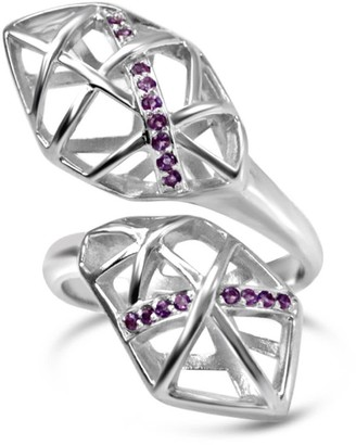 Bellus Domina White Gold Plated Amethyst Helical Ring