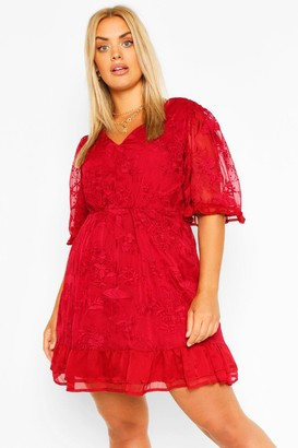 boohoo Plus Lace Ruffle Chiffon Wide Sleeve Skater Dress