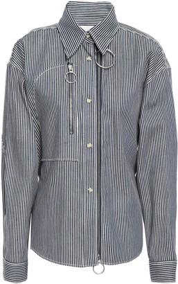 Cédric Charlier Belted Zip-detailed Striped Denim Shirt