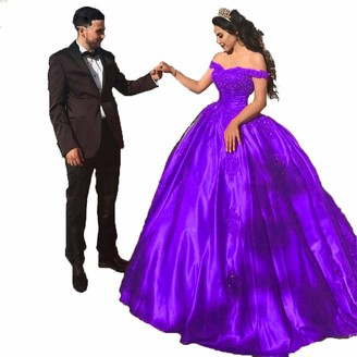 Topashe Womens Off Shoulder lace Applique Prom Dress Satin Quinceanera Ball Gowns Purple Size 16
