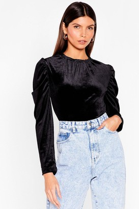 Nasty Gal Womens She's a Puff Act to Follow Velvet Top - Black
