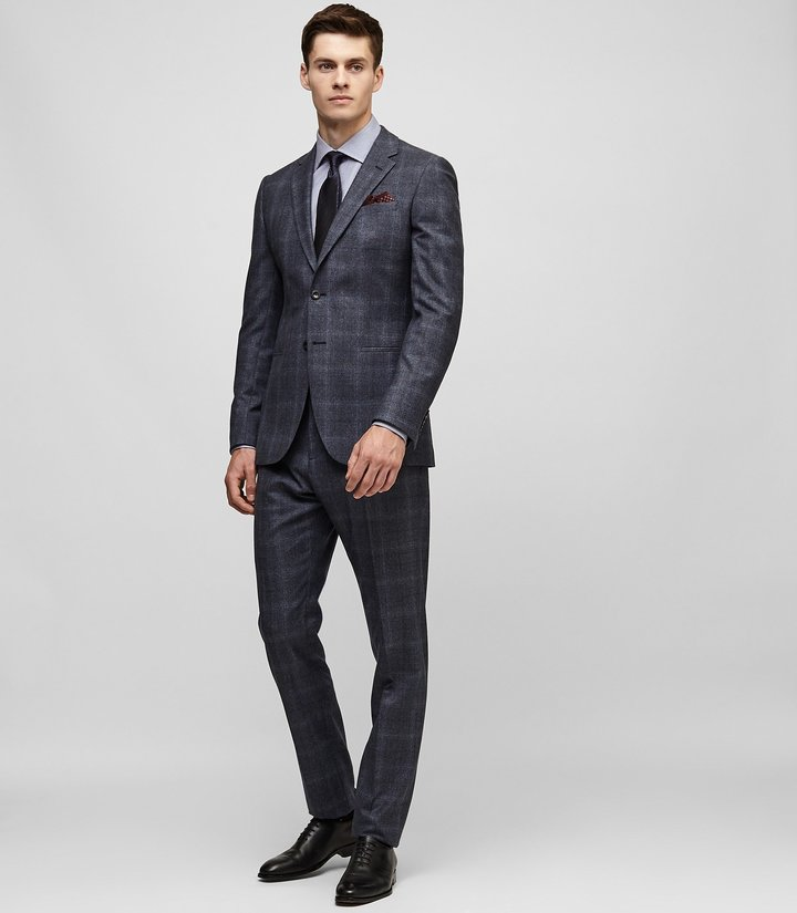 Reiss Caine - Check Wool Suit in Blue, Mens