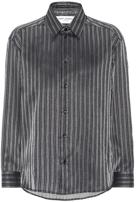 Saint Laurent Striped cotton-blend lame shirt
