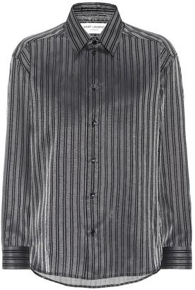 Saint Laurent Striped cotton-blend lame shirt
