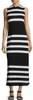 Calvin Klein Collection Kerrick Striped Sleeveless Maxi Dress, Black/White