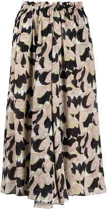 Alysi High-Rise Floral-Print Silk Skirt