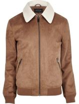 River Island Tan Faux Suede Borg Collar Jacket