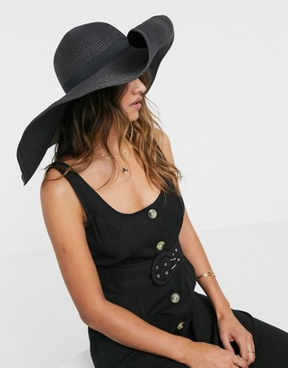 Asos Design DESIGN large straw hat in black with size adjuster