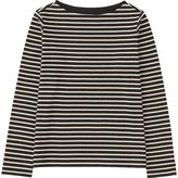 Uniqlo Women Striped Boat Neck Long Sleeve T