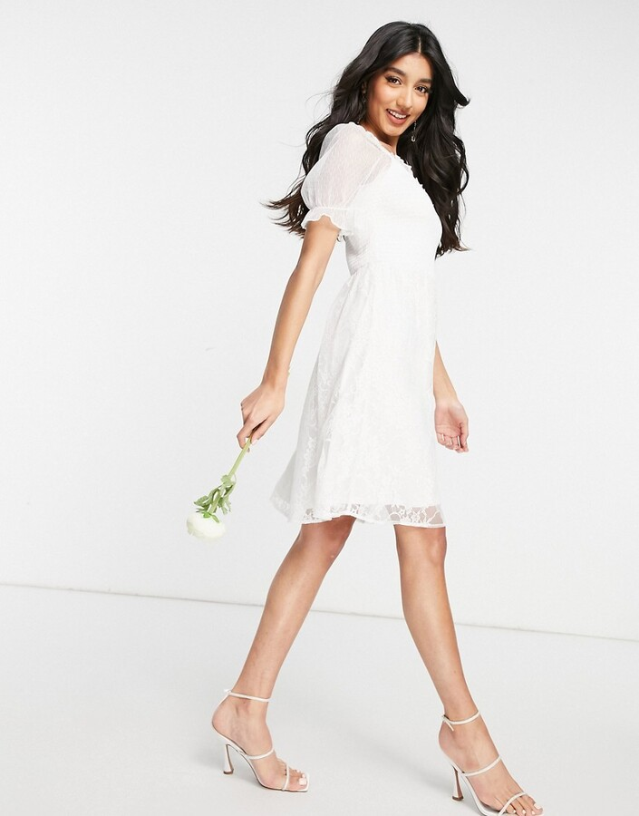 Thumbnail for your product : Y.A.S Bridal mini dress with shirred top mesh puff sleeve and lace skirt in white