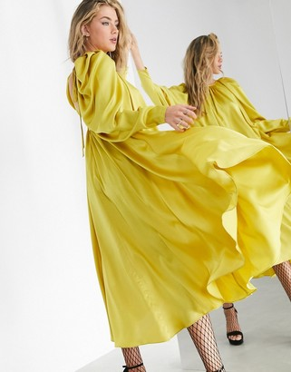 ASOS EDITION satin midi dress with low back and tie in mustard