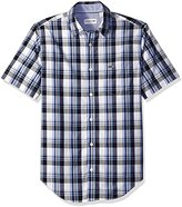 Lacoste Men's Seg 1 Short Sleeve Plaid Poplin W/ Cream Ground