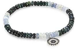 Sydney Evan Women's Small Evil Eye 14K White Gold, Diamond, Black Diamond & Blue Sapphire Beaded Bracelet