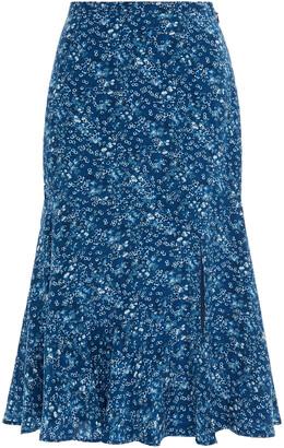 Altuzarra Fluted Floral-print Silk Crepe De Chine Skirt