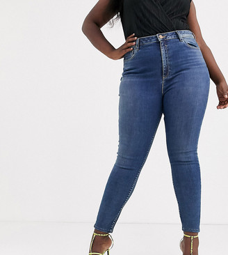 ASOS DESIGN Curve high rise ridley 'skinny' jeans in extreme dark stonewash blue