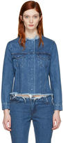 Marques Almeida Blue Denim Collarless Jacket