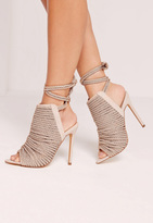 Missguided Rope Detail Peep Toe Ankle Boots Nude