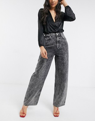ASOS DESIGN high rise 'relaxed' dad jeans in black acid wash