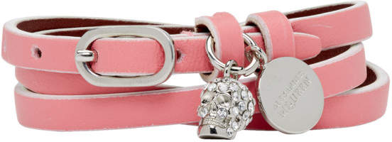 Alexander McQueen Pink Mini Charm Multi Wrap Bracelet