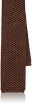 Luciano Barbera Men's Silk Crochet Necktie-BROWN