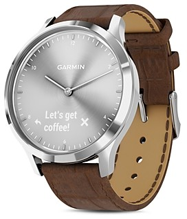 Garmin Vivomove Hr Brown Alligator-Embossed Leather Strap Touchscreen Hybrid Smartwatch, 43mm