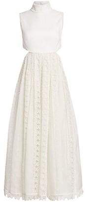 Zimmermann Super 8 Linen Butterfly Halterneck Gown