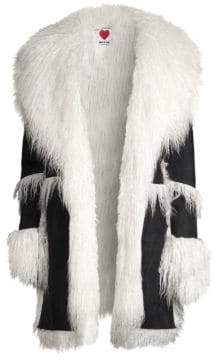 House of Fluff House of Fluff Women's Faux Shearling Notch-Collar Coat - White Black - Size Medium/Large