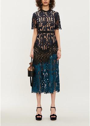 Self-Portrait Prairie floral-embroidered midi dress