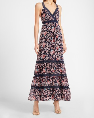 Express Floral Lace Pieced Tiered Maxi Dress