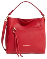 Salvatore Ferragamo Small Pebbled Leather Hobo - Red