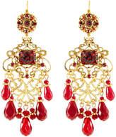 Jose & Maria Barrera Multihued Filigree Chandelier Earrings, Red