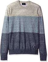 Armani Jeans Men's Regular Fit Linen Blend Colorblock Sweater