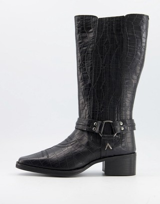 ASRA Khloe western knee boots in croc embossed black leather
