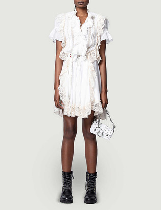 Zadig & Voltaire Rank ruffled lace-trimmed cotton-blend mini dress