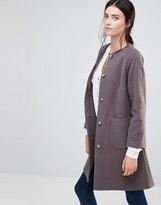Helene Berman Collarless Swing Coat In Taupe