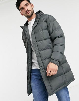 Brave Soul longline padded puffer jacket with funnel neck