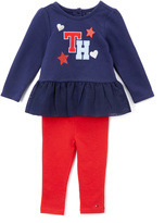 Tommy Hilfiger Blue & Red Ruffle Tunic & Leggings - Infant