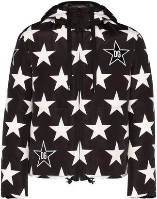 Dolce & Gabbana Star Print Logo Hooded Jacket