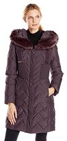 T Tahari Women's Kim Down Coat with Faux-Fur Hood
