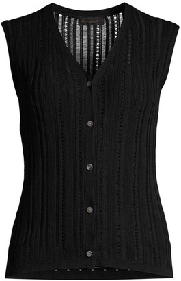 Donna Karan Sleeveless Button-Front Loose-Weave Knit Top